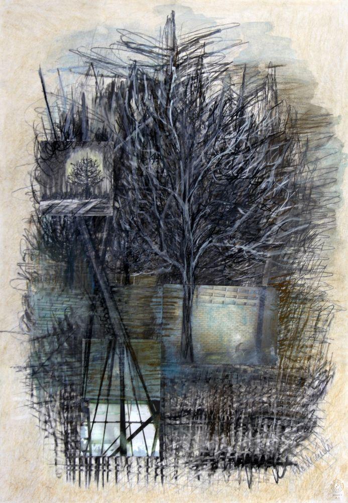 Baum, Bleistift, Kohle, Collage, 73 x 51 cm