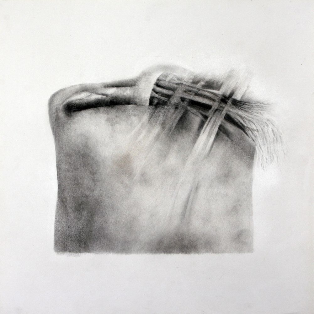Das Harte und das Weiche, Bleistift, Farbstift, 50 x 50 cm