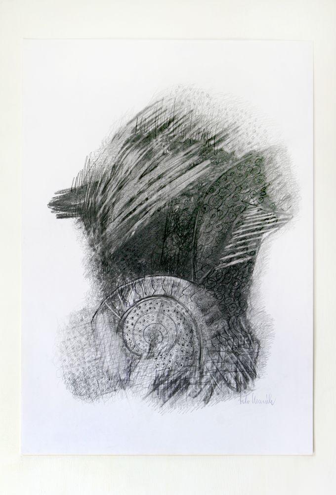 Fragment eines Flügels, Zeichenkarton, Bleistift, Kohle, 60 x 40 cm