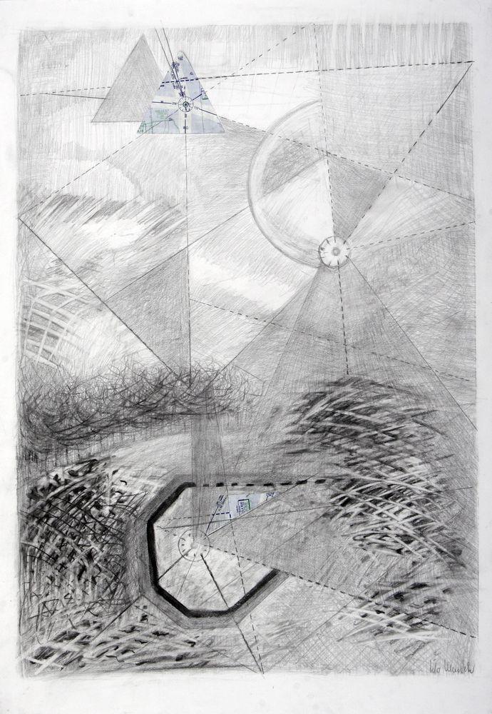 Im Land der Pyramiden, Bleistift/Collage, 72 x 51 cm