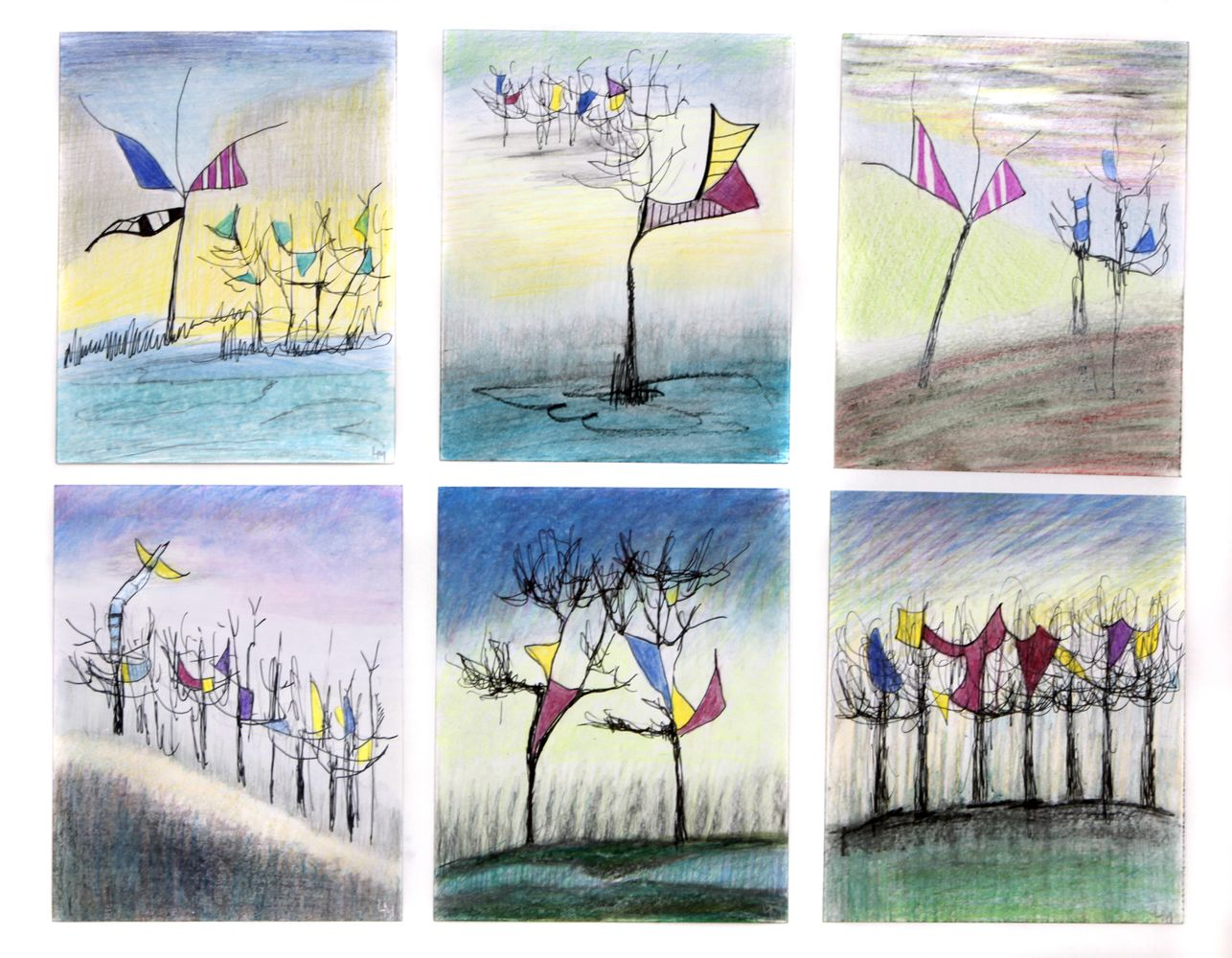 Lass den Bäumen Flügel wachsen, Buntstift, je 16 x 13,5 cm - gerahmt 50 x 60 cm