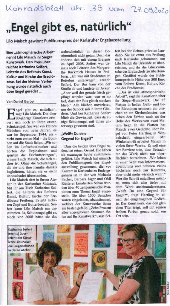 Lilo Maisch gewinnt Puplikumspreis der Karlsruher Engelausstellung